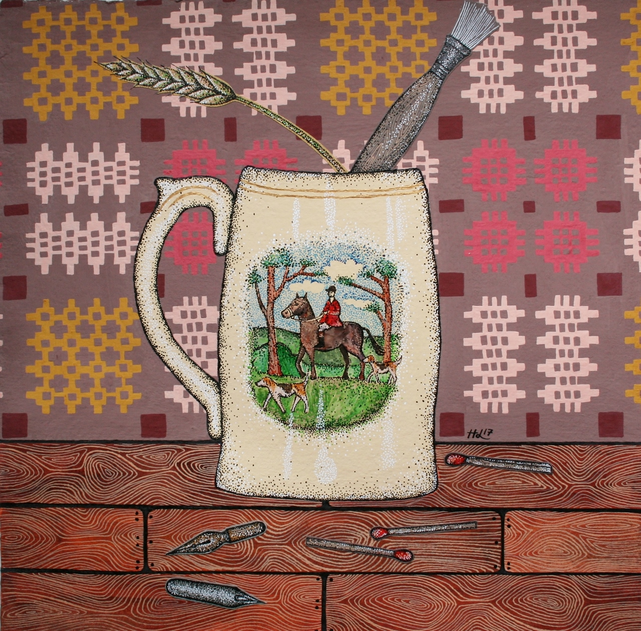 Still life with Paintbrush. watercolour, ink & gouache on paper. 2017. 29.5 cm x 29.5 cm