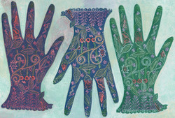 Three Gloves. Lino cut, collage, paint on canvas. 25cm x 30cm