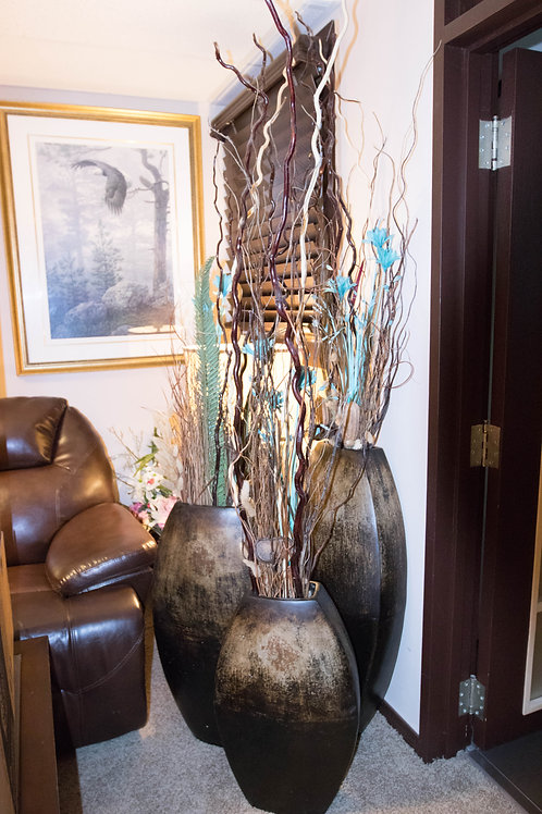 Large Ceramic Vases with Silk Flowers and Sticks