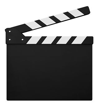 clapperboard isolated on white backgroun