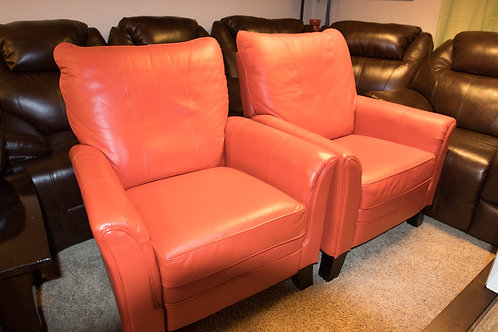 Lazyboy Recliner Orange Leather Chairs