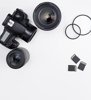 modern dslr camera, lenses, photo equipm