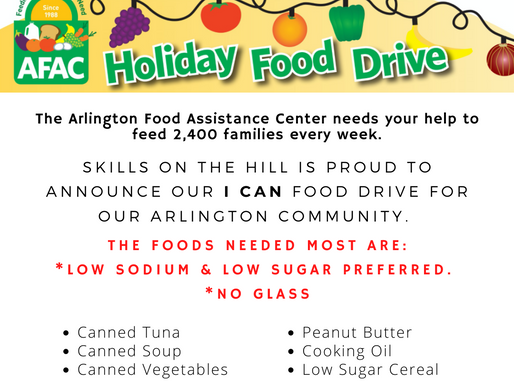 """Skills on the Hill Hosts an """"I CAN"""" Food Drive"""