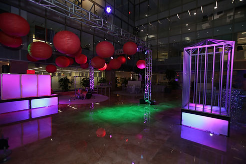 DJ Booth Dance Cage Lounge Furniture Rental Event Lighting Pipe and Drape Holiday Party Decor Corporate maryland DC Virginia