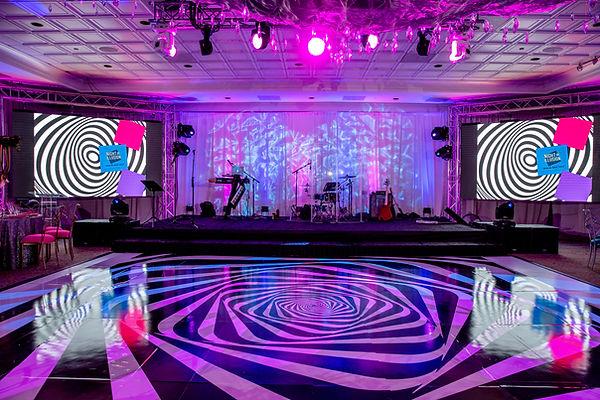 Dance floor wrap audio visual event stag