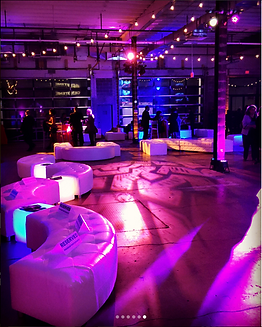 Dock 5 Uniion Market Lounge Furniture Rental Event Lighting Pipe and Drape Holiday Party Decor Corporate maryland DC Virginia