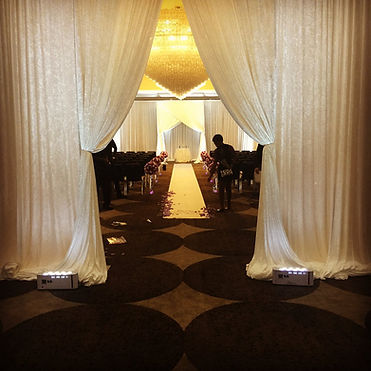 The W Hotel Wedding Pipe and Drape Ceeremony Swag Entrance Uplighting Maryland DC Virginia
