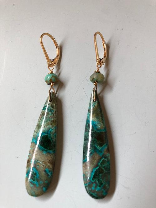 Chrysocolla drop earring  14k gold filled ear wire