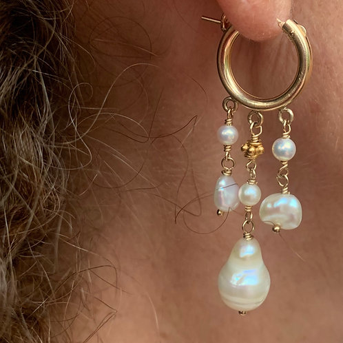 14k gold filled hoop earring Vermeil bead