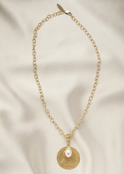14k gold filled chain, vermeil Roman Coin, and a vermeil connector
