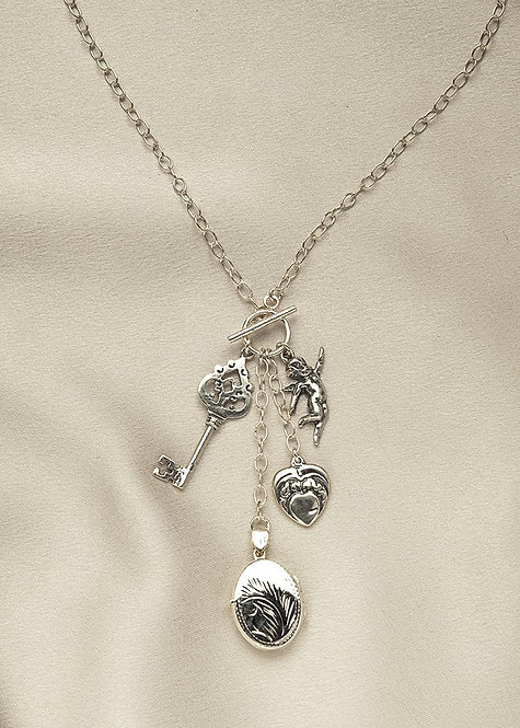 All sterling silver charm necklace, with locket