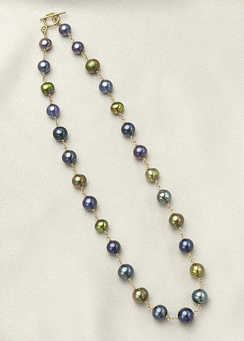 Iridescent shades of blue, green pearls connected with 14k gold filled wire wrap