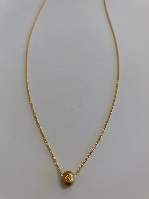 Tiny vermeil Thai Hill Tribe pendant, floating on 14k gold filled chain