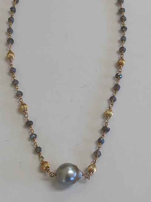 Tahitian pearl with labradorite and 14k gold beads