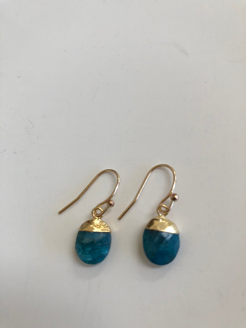 Aqua apatite , 14k gold filled wires