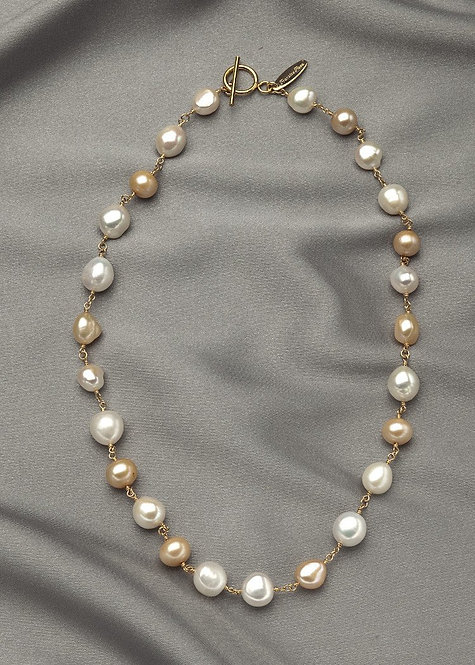 Champagne, white pearls, connected with 14k gold filled wire and toggle clasp