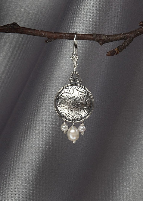 Sterling silver with pearl drops, lever back ear wire