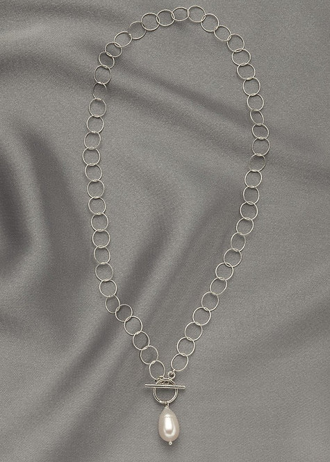 Lightweight, sterling silver chain with front closing toggle clasp pearl drop