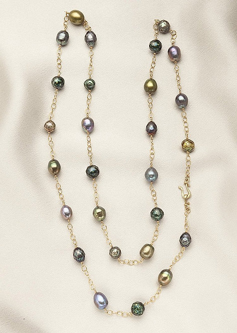 Magnificent blue, green, faceted teal pearls, and 14k gold filled chain