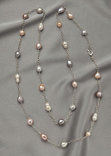 Long, pink, white, and silver pearls, with sterling silver chain