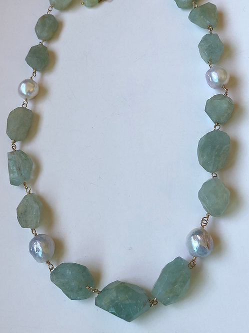 Raw aquamarine with round baroque pearls, 14k gold filled wire wrap