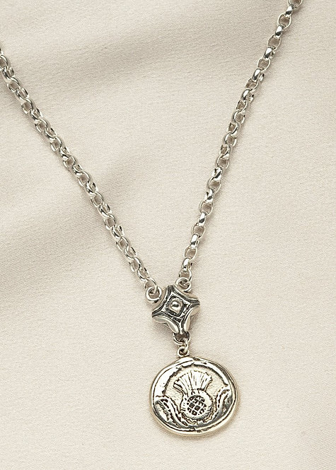 """All sterling silver, handmade coin with the """"Scottish Thistle"""""""