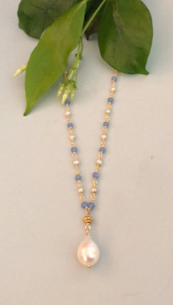 Blue crystal, pearl, 14k gold filled wire wrap with vermeil bead and pearl drop