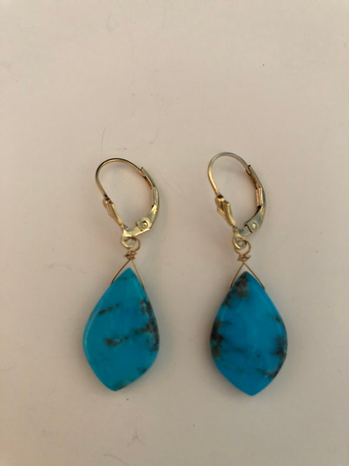 Turquoise drop earrings with 14k gold filled ear wires