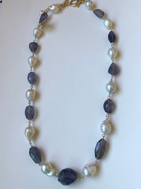 Blue iolite with white baroque pearls with gold filled wire wrap