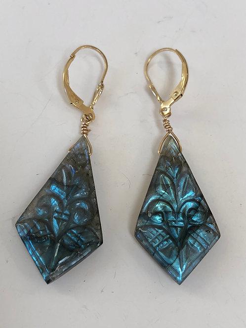 Carved labradorite earrings