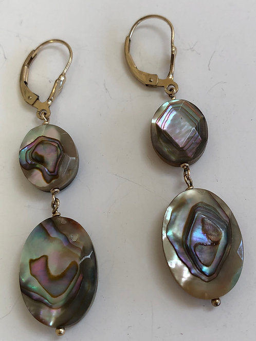 Faceted abalone earrings