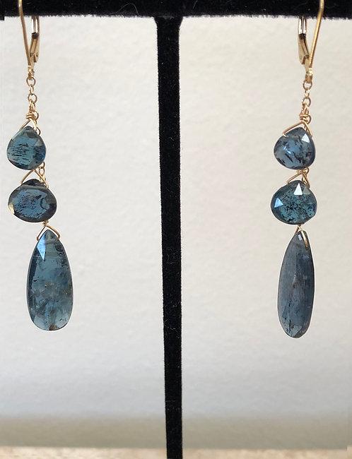 Indigo quartz, 14k gold filled ear wires