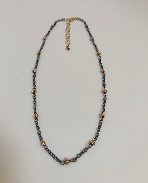 Oxidized black sterling chain with vermeil beads