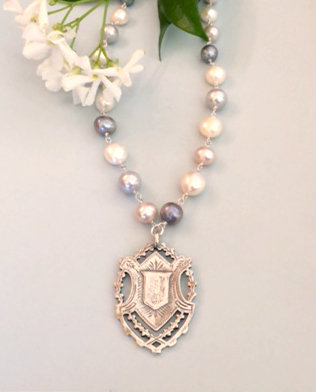 Freshwater pearl, sterling silver wire wrap, with a sterling Victorian Tag
