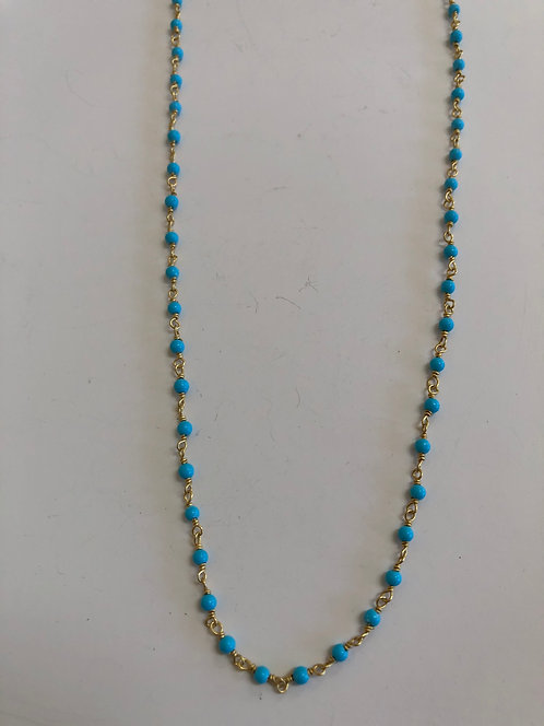 """Tiny turquoise wire wrap with 14k gold filled wire 16"""""""
