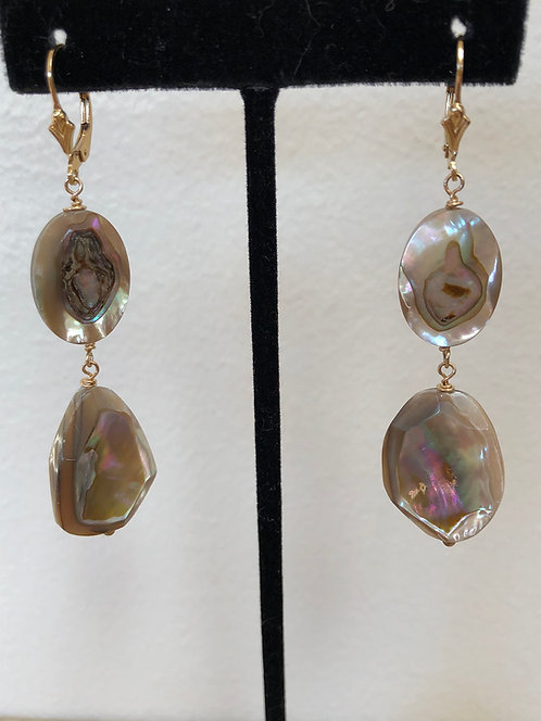 Large Faceted abalone with 14k gold filled ear wires