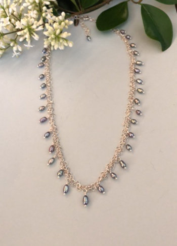 Sterling silver chain with blue/ silver rice pearls