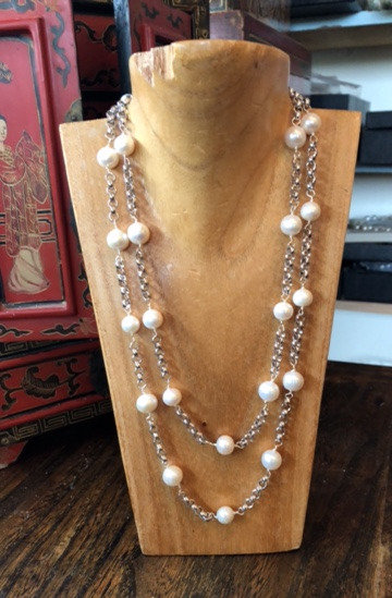 Freshwater Pearl and Vintage Silver Chain