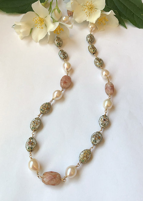 Antique cloisonné, freshwater pearl and sunstone wire wrap with 14k gold filled