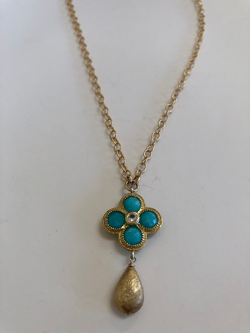 "17"" gold filled chain, turquoise, CZ  pendant"