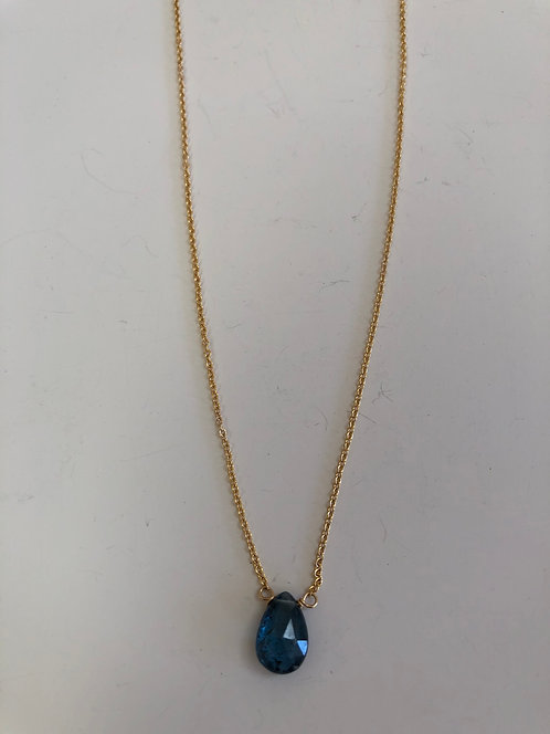 Indigo quartz on 14k gold filled chain