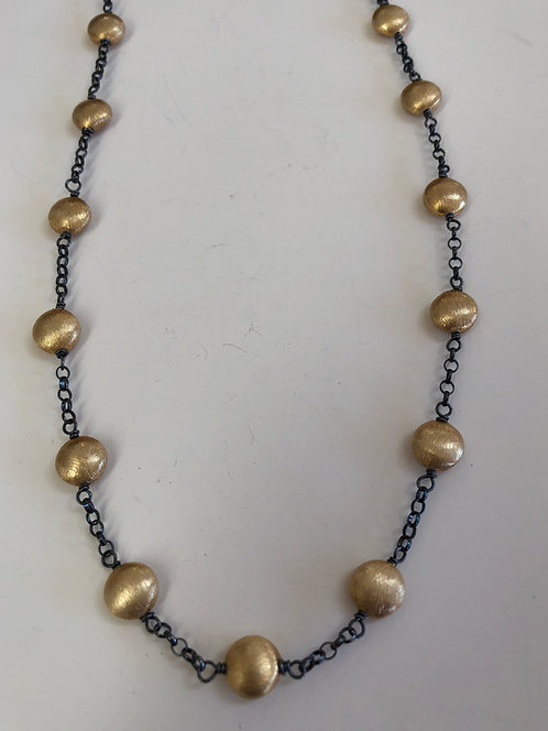Vermeil beads with black oxidized sterling silver chain