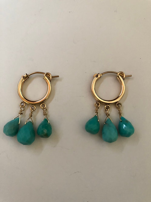 14k gold filled hoops with 3 turquoise drops
