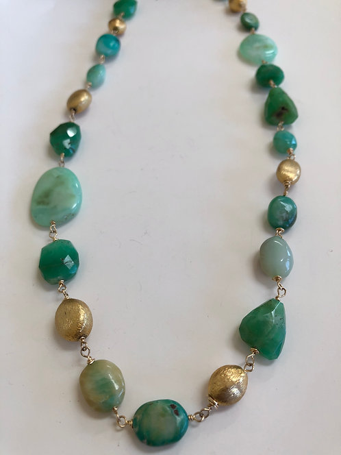 Peruvian opal, chrysoprase, and gold plate beads