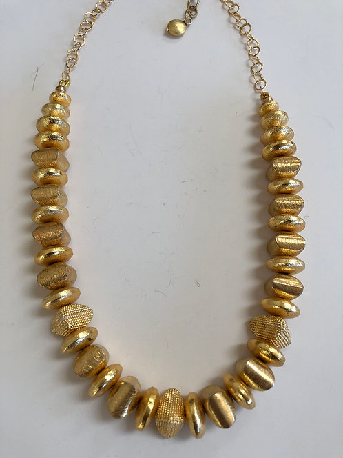 Gold plate beads with 14k gold chain and clasp