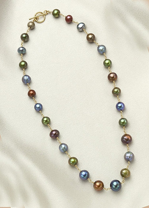 Blue, green, brown pearls, connected with 14k gold filled wire