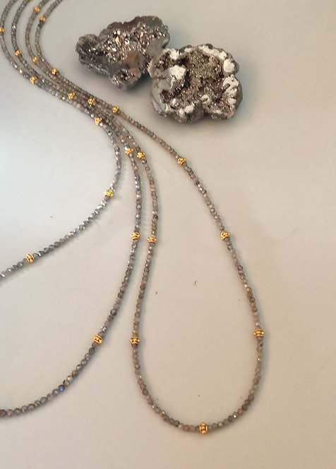Diamond cut labradorite with vermeil beads 32""