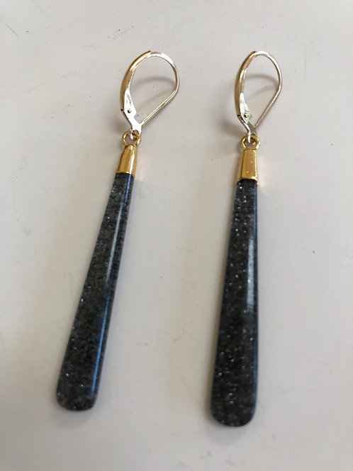 Black sunstone 14k gold filled ear wires