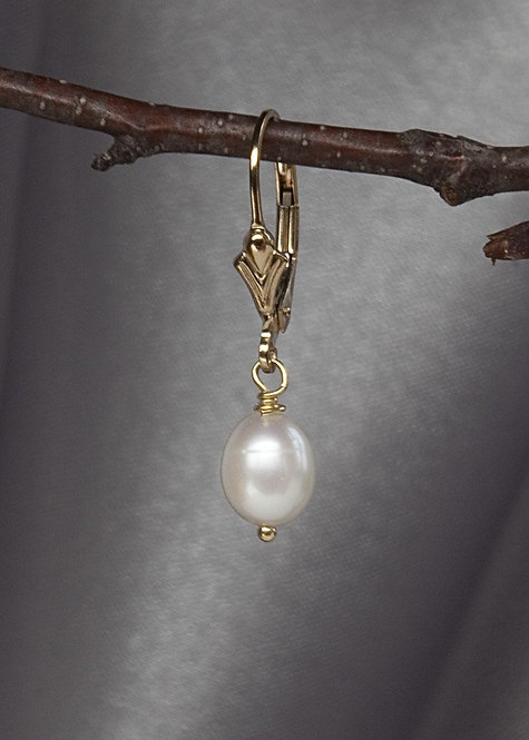 Tiny white pearl drop earring, 14k gold filled lever back ear wire