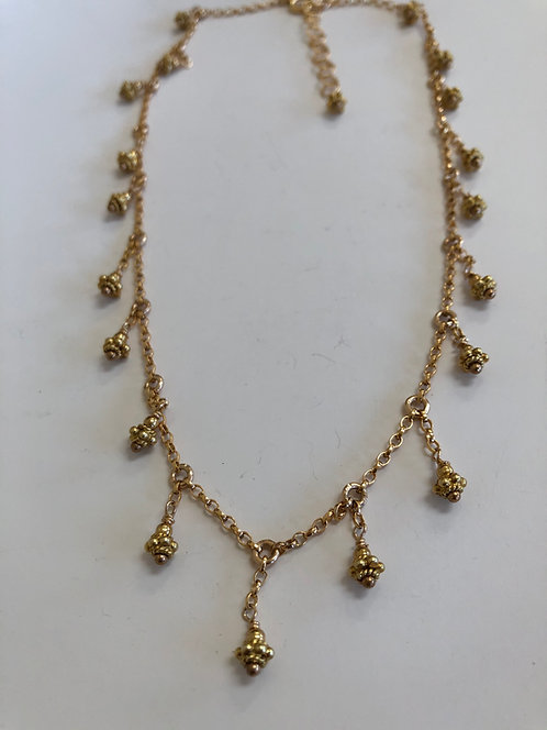 14k gold filled chain with vermeil beads